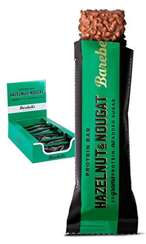 Barebells Proteinriegel Hazelnut & Nougat 55g x 12 | Proteinreich Kohlenhydratarm | Kaum Zucker | 20...