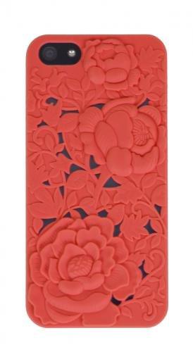 Aiino Flowers Schutzhülle Handyhülle Schale mit Soft Touch für Smartphone Apple iPhone 5/5S - Schwarz Rot