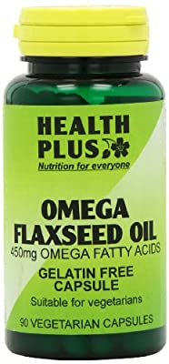 Health Plus Omega Flaxseed Oil 450mg Omega-3, Omega-6 & Omega 9 Supplement - 90 Gelatin Free Capsules by Health + Plus Ltd