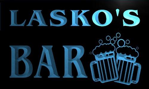w015615-b LASKO'S Nom Accueil Bar Pub Beer Mugs Cheers Neon Sign Biere Enseigne Lumineuse