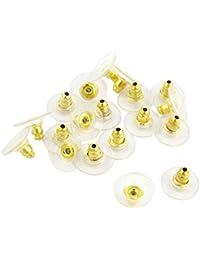 Tapones de pendientes posteriores - SODIAL(R)20 piezas de tapones de pendientes posteriores de reemplazo de forma redonda dorado claro