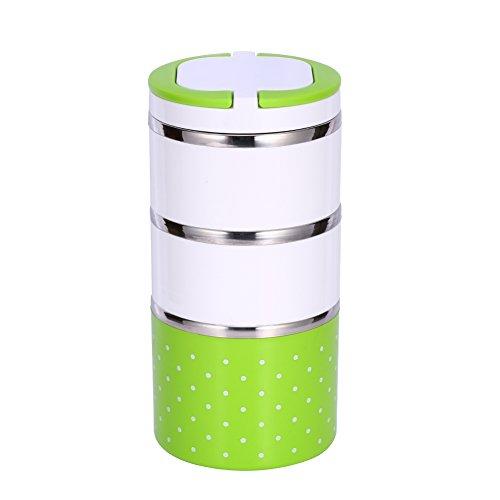Yosoo Picknick Lunch box Pot Brotdose Tragbare Isoliert Thermal Edelstahl Innendämmung Leakproof Auslaufsicher mit Griff Essenbehälter Essenträger Warmhaltebox für Essen (1230 ml, Grün)