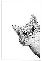 """Juniqe® Kinderzimmer & Kunst für Kinder Katzen Poster 20x30cm - Design """"Sneaky Cat"""" entworfen von Laura Graves"""