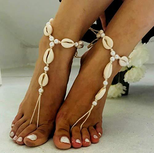 (Strand Muschel Fußkette Armband Mode Barfuß Sandal Verstellbare Shell Pearl Anklet Link Für Frauen und Mädchen (Gold) Strandsandalen Surfen Urlaub Anklet Damen Urlaubsgeschenk)