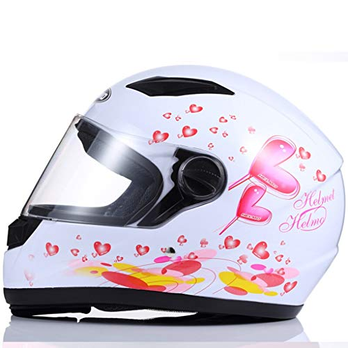 Casque de moto pour homme et femme Casque intégral Locomotive tout-terrain Casque de compétition Four Seasons Objectif transparent (Couleur : White love pattern-Anti-fog lens)