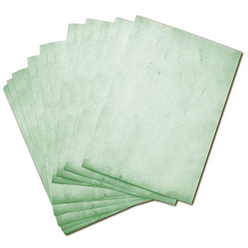 50 BLATT Vintage Briefpapier / DIN A4 90g /m² - ca 21 x 30 cm / Bastelpapier für Kinder / für Karten + Einladungen zur Hochzeit / Vintage Papier beidseitig bedruckbar / 50er Block blanko Motivpapier / Set zum Gestalten in grün