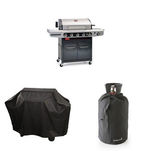 barbecook Gasgrill, Siesta 612, schwarz-grau, 117 x 77 x 52,5 cm, 2239261200 + Abdeckhaube + Gasflaschenhaube 11Kg