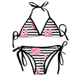WASAENGY Women's Tie Side Bottom Triangle Bikini Swimsuits Badeanzüge for Rabbit Bunny Pink Watercolor Flower Print