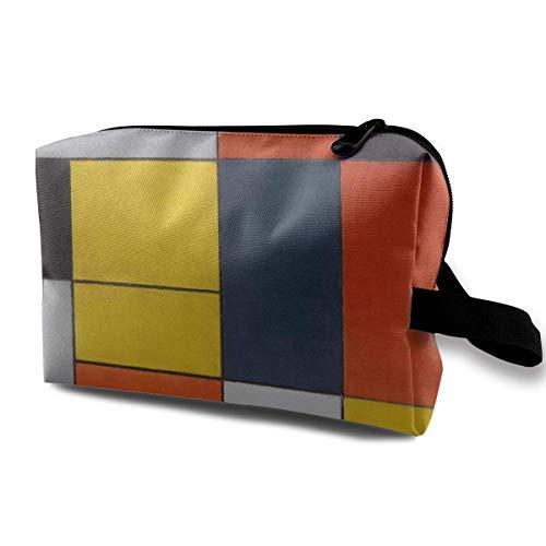 Mondrian Blocks Small Travel Toiletry Bag Super Light Toiletry Organizer for Overnight Trip Bag