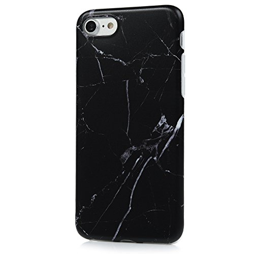 "YOKIRIN Silikonhülle für iPhone 7 (4.7"") Premium Marmor TPU Silikon Case Cover Handyhülle Handytasche Etui Handycase Flexible Transparent Rahmen Rutschfest Kratzfest Schutzhülle Roter Farbverlauf Schwarz"