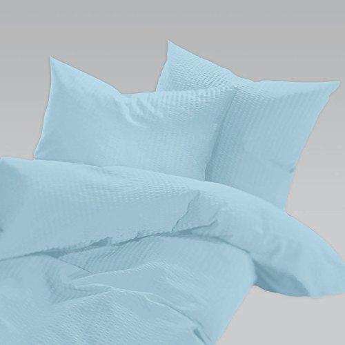 Schlafgut Uni Seersucker Bettwäsche bügelfrei Aqua 1 Bettbezug 135x200 cm + 1 Kissenbezug 80x80 cm