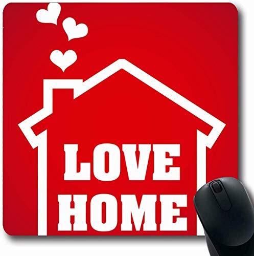 Luancrop Mousepad Forma Redonda Corazón Rojo Casa