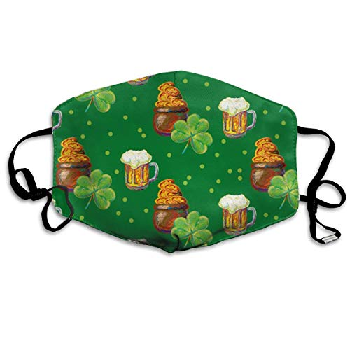 Clover Pot Coins Irish Beer Happy St Patrick S Day Party Mouth Mask Dust Gesichtsmaske Washed Reusable Outdoor Activities Windproof (Party St Day S Patrick)