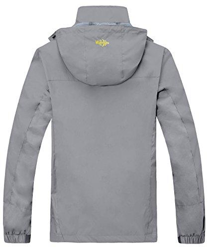 Wantdo Herren Oberbekleidung Wasserdichte Winddichte Jacke mit Kapuze Grau