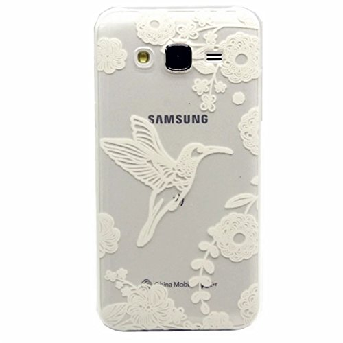 MUTOUREN Samsung Galaxy J5(2015) case cover Shock-Absorption Bumper with Anti-Scratch Clear Back Ultra Slim Super Soft TPU Silicone Gel Back Skin Protective-White Bird and flower