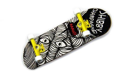 "KOMPLETT Fingerskateboard Shibby Champange #2 ""AAAH"" Deck + Achsen GELB + ROLY-POLY Wheels WEIß von FREEFINGERS® Handmade Wood Fingerboard"