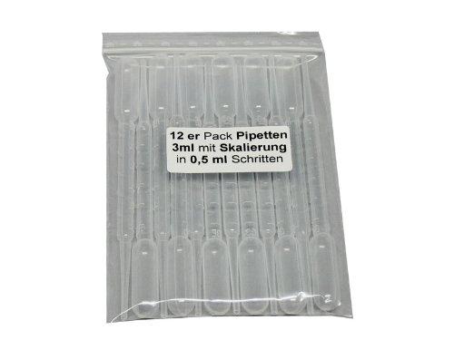 12 er Sparpack 3ml Pipetten Modellbau, Feindosierung, Airbrush - mit Dosierskala und Saugbalg