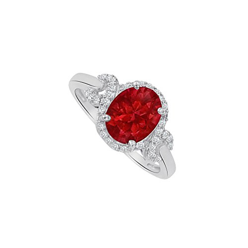Oval Ruby and CZ Halo Twist Ring in Sterling Silver