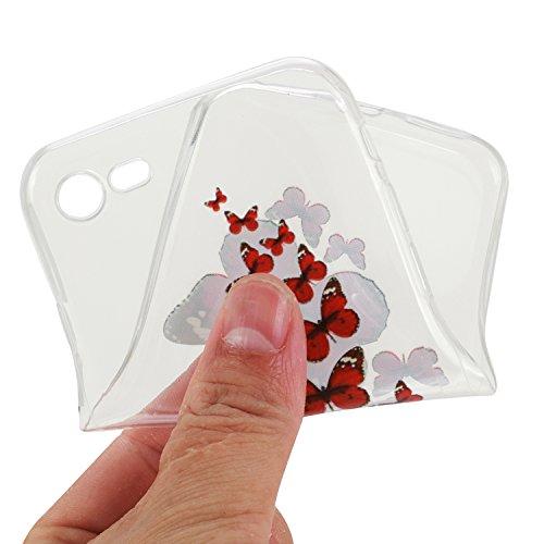 iPhone 7 Silikon Hülle iPhone 7 Case - Felfy Ultra Slim Weicher Gel Flexible TPU Transparent Case Schutzhülle Silikon Ultradünne Hülle Retro Farbe Blumen-Totems Muster Schutz Scratch-Resistant Handy H Rot Schmetterling Case
