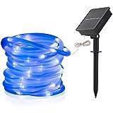 12M 100 LED Solar Lichtschlauch, Garten Dekoration im Freien wasserdichte Kupferdraht Schnur Weihnachtslampe Hochzeit Party Baum Weihnachten Dekoration Xmas (Blau)