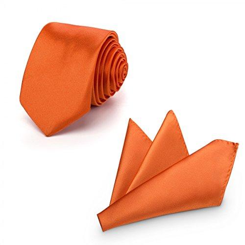 Rusty Bob - Krawatte mit Einstecktuch (in vielen Farben) - für die Verlobung, die Hochzeit - Schlips mit Taschentuch für das Sakko - 2er-Set - Orange / Apricot