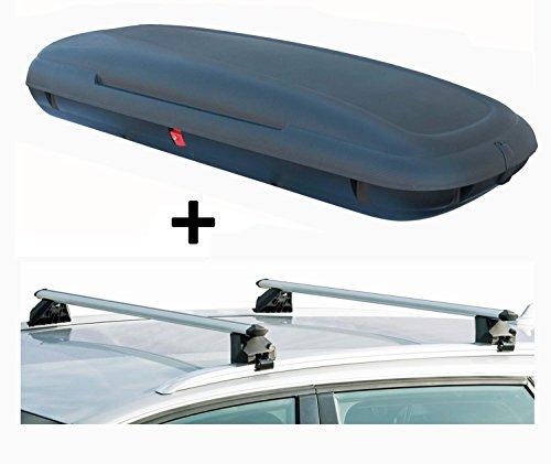 VDP VDP-CA480 Dachbox 480 Ltr Carbon Look abschließbar + Alu Relingträger CRV107A für Hyundai ix35 5 Türer 2010-2015 90kg abschließbar