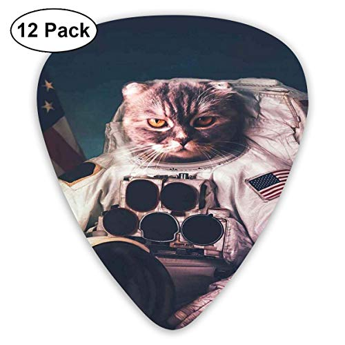 Guitar Picks 12-Pack,Vintage Image Astronaut Kitty With American Flag Patriot Animal -