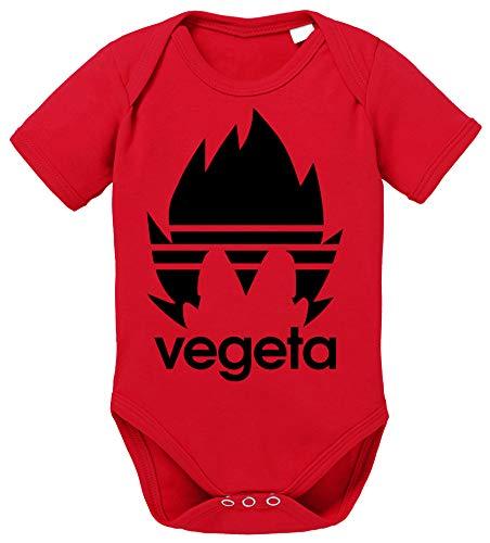 Adi Vegeta Dragon Son Baby Ball Strampler Goku Bio Baumwolle Body Jungen & Mädchen 0-12 Monate, Größe:56/0-2 Monate, Farbe:Rot