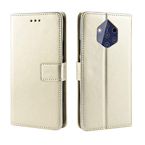 AXRXMA Gaga Pferd Muster Textur Schutz Flip Kunstleder Brieftasche Stil Handy Hülle mit Brusk Sling für Nokia 9 PureView (Farbe : Gold)
