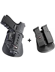 Fobus Pistol Holster Case Paddle + 6900 Double Magazine pouch for Glock 19, 17, 22, 23, 31, 32, 34, 35, 41 Walther PK de 380