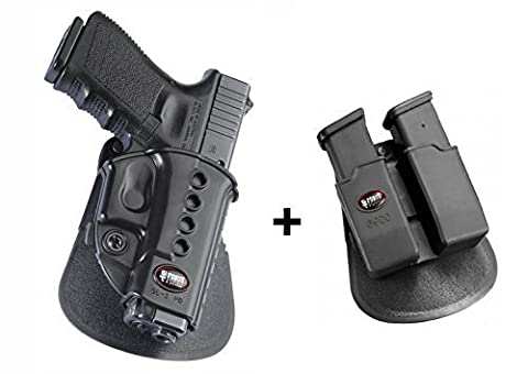 Fobus Pistol Case Paddle Holster + 6900 Double Magazine Pouch for Glock 19, 17, 22, 23, 31 ,32, 34, 35, 41 Walther PK-380