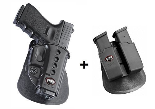 Fobus Pistol Case Paddle Holster + 6900 Double Magazine Pouch for Glock 19, 17, 22, 23, 31 ,32, 34, 35, 41 Walther PK-380 (Glock Tactical Magazin)