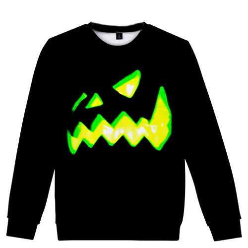 SEWORLD Halloween Kostüm Damen Herbst Schiefe Kragen Fledermaus Patchwork Brief Sweatshirt Top Bedrucktes Oberteil Langarm Pullover Bluse Freizeithemd Kleidung(Schwarz,EU-34/CN-S)
