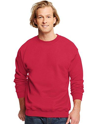 Hanes HanesApparel Men's Ultimate Fleece Crewneck Sweatshirt, Deep Red, Small Poly Crewneck Fleece Sweatshirt