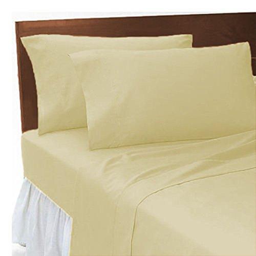 Bett Blatt Königin Baumwolle (LNB creme unifarben Poly Baumwolle Komplett Set (Bettlaken + Spannbetttuch + Kissen), Einzelbett)