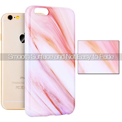 iPhone 6S Plus Tasche , iPhone 6 Plus Tasche , Marmor Hülle Flexible Silikon Schutz HandyHülle Ultradünn Weich TPU Rückseite Protective Abdeckung Case Telefonkasten Muster Stein Hülse Gel Gummi Malere Orange Rose