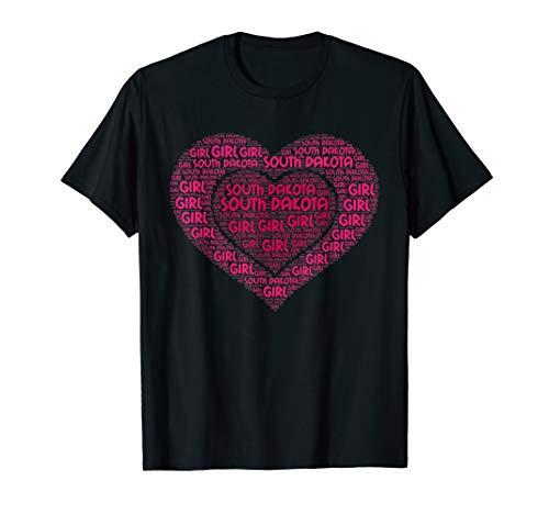 SOUTH DAKOTA Girl T-shirt I Love SOUTH DAKOTA State Home Tee T-Shirt -