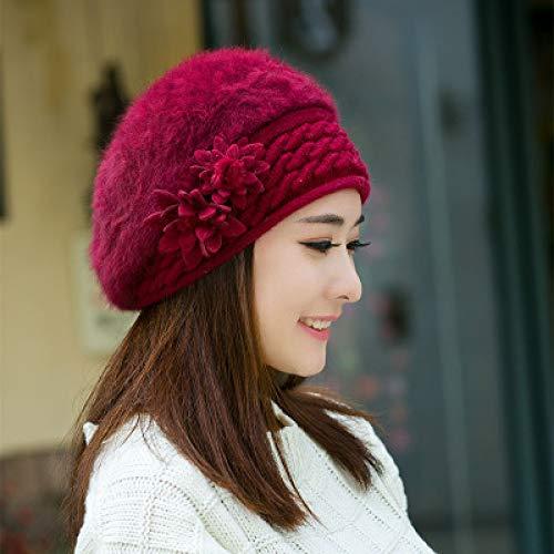 WEIFENG New Winter Hut weibliche Flut Mode Damen Hut Herbst und Winter Baskenmütze Kaninchen Pelzmütze dick warm Vin Rouge Eine Größe