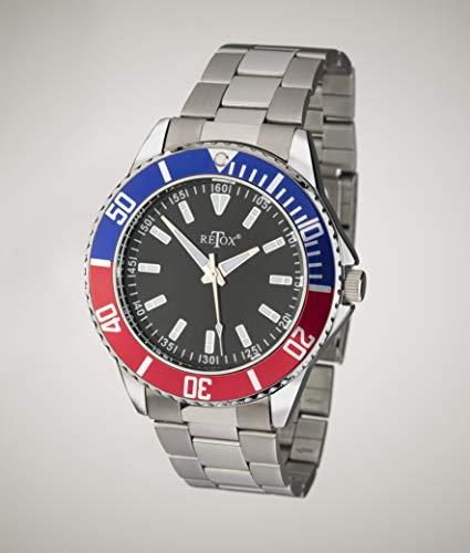 Retox Herren-Armbanduhr, Master mit 2 Farbiger Lünette und Edelstahlband, 3 bar wasserdicht