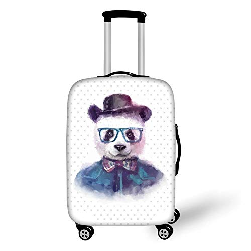 Travel Luggage Cover Suitcase Protector,Funny,Vintage Hipster Panda with Bow Tie Dickie Hat Horn Rimmed Glasses Watercolor Style,Black Blue,for Travel,L Dickies-cover