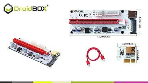 6-Pack PCIe VER 006C 16x bis 1x Powered Riser Adapterkarte mit 60cm USB 3.0 Verlängerungskabel & 6-Pin PCI-E zum SATA Netzkabel – GPU Riser Adapter – Ethereum Mining ETH - 4