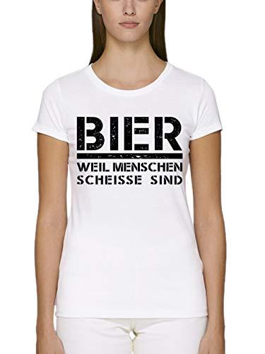 clothinx Damen T-Shirt Unisex Bio und Fair Bier Weil Menschen Scheisse Sind Weiß Gr. M -