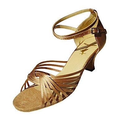 Silence @ pour femme Chaussures de danse latine/salle de bal en satin Stiletto Talon Noir/doré/rouge Wide