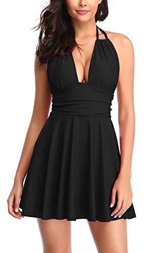 Avacoo Damen Badekleid Einteiler Badeanzug Neckholder Einfarbig Kleid Schwarz M - Schwarz Neckholder Kleid