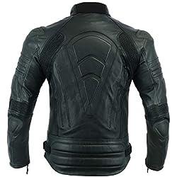 Veste de moto en cuir blindée pour homme, moto, motard - Noir avec accoudoir extérieur MBJ-1728A