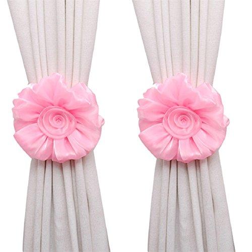 Amcool 1 Paar Rose Blume Vorhang Raffhalter Schnalle Spannhaken Verschluss Curtain Tieback (rosa) (Mädchen Schnalle)