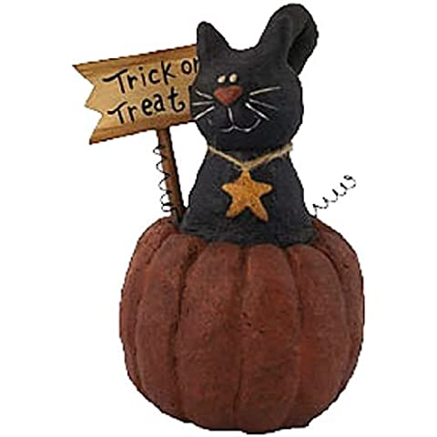 Craft Outlet Papier Mache Cat on Pumpkin Figurine, 7-Inch by COIIN