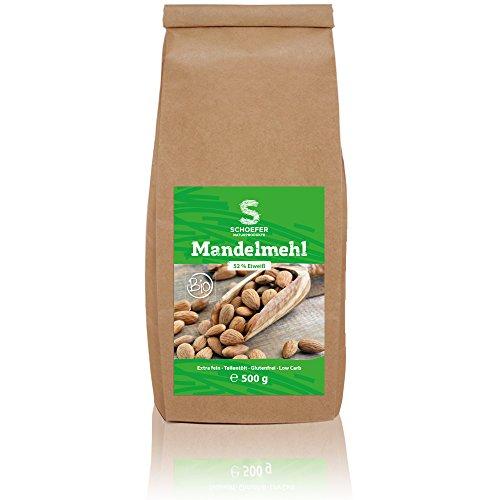 Image of Bio Mandelmehl teil-entölt, weißes Low-CarbMehl aus Süß-Mandeln, gemahlen, blanchiert, vegan, glutenfrei, Paleo, 500g