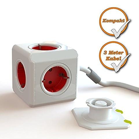 Kompakter Steckdosen Würfel für 5 Stecker, Schreibtisch-Steckdose, 3Meter Kabel, rot-weiß