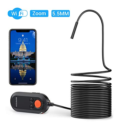 DEPSTECH WiFi Endoskop, HD 5.5 MM Ultradünne Endoskopkamera Auto Reparatur Inspektionskamera mit Digital Zoomable Lens IP67 wasserdichte Schlangenkamera für Android & iOS Smart Phone & Tablet-5M